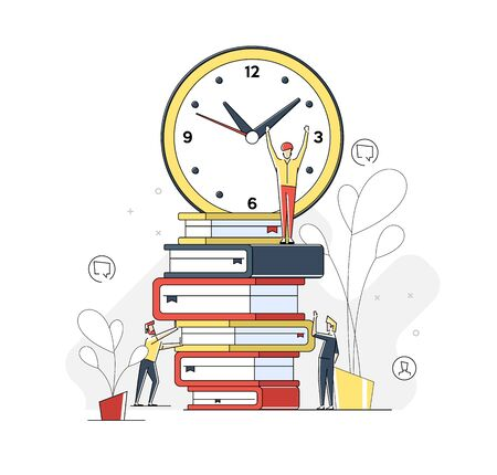 Flat linear illustration,about learning, online courses and business, education, online books and textbooks, exam preparation, home schooling. Illustration for landing page. 免版税图像 - 146163002