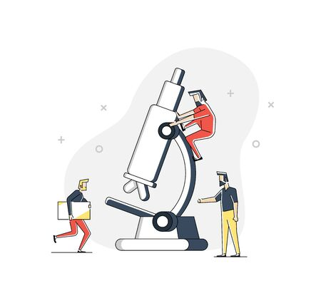 group of scientists who are researching blood on a large microscope vector illustration concept Illusztráció