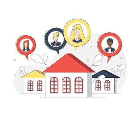 Vector illustration, people on self-isolation communicate through social networks, support and sociability Illusztráció