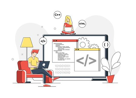 Flat linear illustration of programmer is working on a laptop. Creation of computer code in a programming language. Freelancer works at home at the table. Isolated on a white. Vector Illustratie