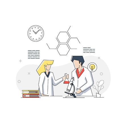 Flat linear illustration of two young scientists doing research in a laboratory on white background. Vector geometric illustration Banner, icon, landing page.