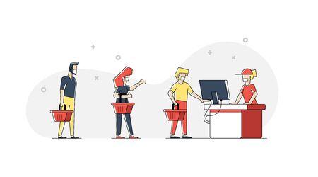 Social distancing advice - flat design style illustration