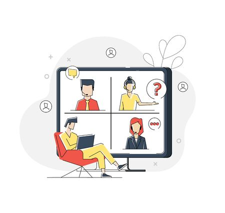 Flat linear illustration of Conference video call concept, remote project management, quarantine, working from home. Vector geometric illustration Banner, icon, landing page. 矢量图像