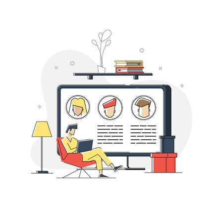 Man Working at Home Office. Character Sitting at Desk in Room, Looking at Computer Screen and Talking with Colleagues Online. Home Office Concept. Flat Isometric Vector Illustration. Çizim