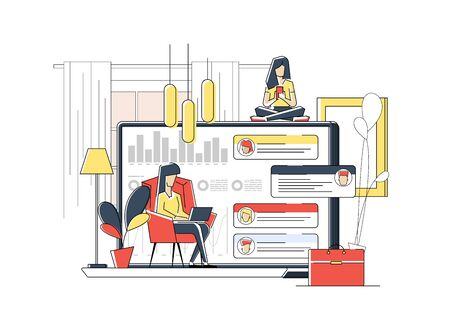A girl sitting on the sofa works on the laptop. Vector flat illustration. Landing page template, cartoon style. 矢量图像