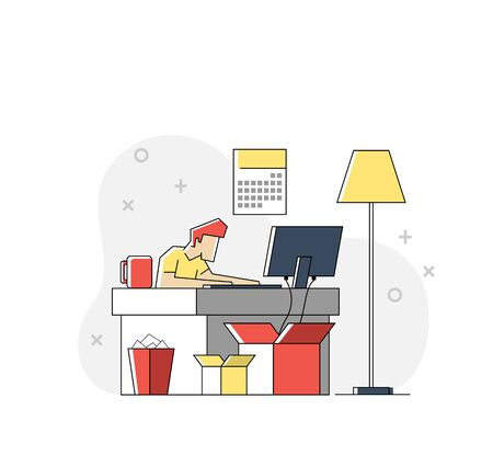 Flat linear illustration of Handsome man is working at his laptop. Flat office interior with work process icons on the background. Vector illustration.