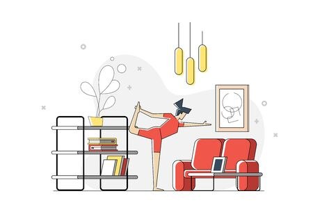 Flat linear illustration of Young woman doing sports workout in morning. Cute happy girl performing gymnastic exercise at home. Start of working day, everyday life, daily activity.