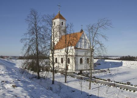 orthodox church: Belarus, Zaslavl: Spaso-Preobrazhensky orthodox church and ancient shaft.