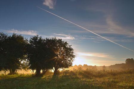 ray trace: Salida del sol de verano  Foto de archivo