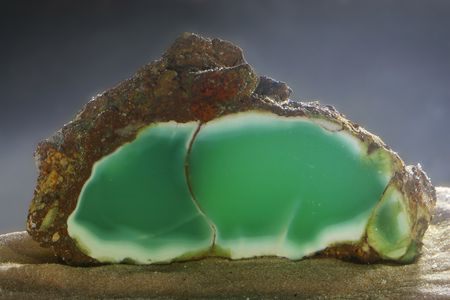 specimen: Mineralogical specimen of chysoprase shooted under the water Stock Photo