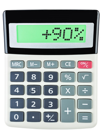 Calculator with 90 on display on white background photo