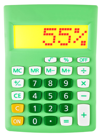 Calculator with 55 on display on white background photo