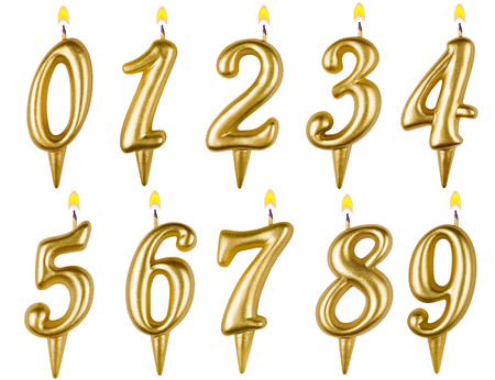 생일 촛불 번호는 흰색 배경에 고립 된 집합 스톡 콘텐츠