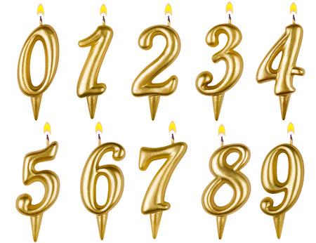 Kaarsjes nummer set geïsoleerd op een witte achtergrond Stockfoto