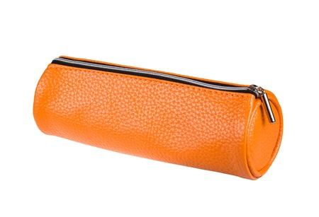 orange pencil case isolated on white background photo