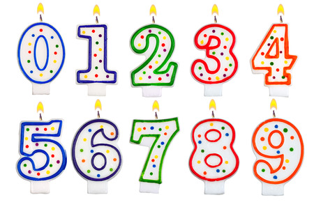 Birthday candles number set isolated on white background photo