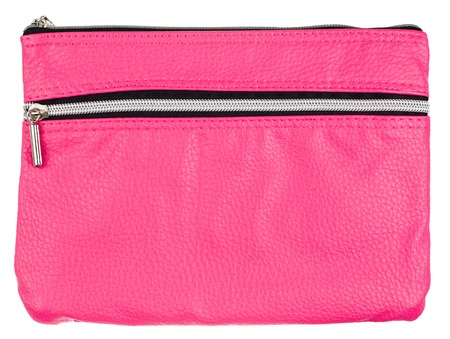 pink cosmetic bag isolated on white background photo