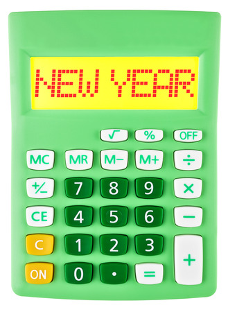 christmas budget: Calculator with NEW YEAR on display isolated on white background Stock Photo