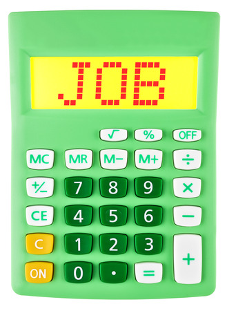 budgetary: Calculator with JOB on display isolated on white background Stock Photo