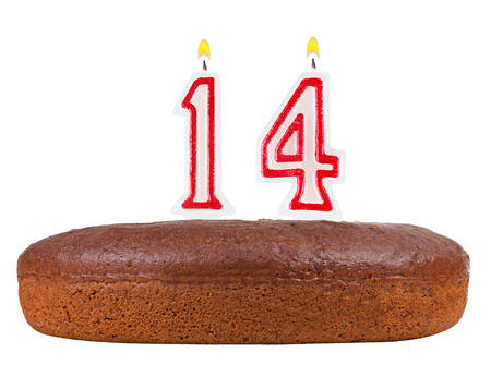 number 14: birthday cake with candles number 14 isolated on white background