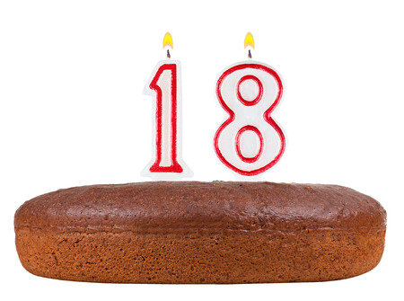 happy 18th birthday: birthday cake with candles number 18 isolated on white background