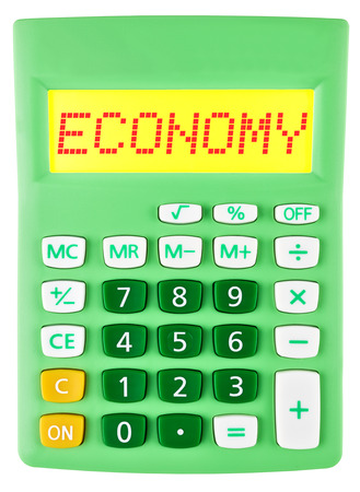 budgetary: Calculator with ECONOMY on display isolated on white background