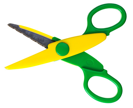 scissors: the green scissors isolated on white background