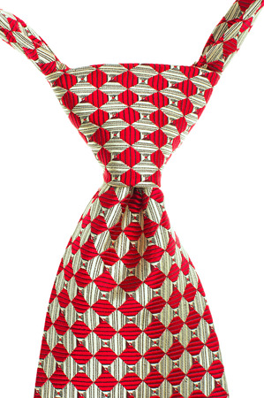 men s: Red and White Striped Tie Isolated on White Background.