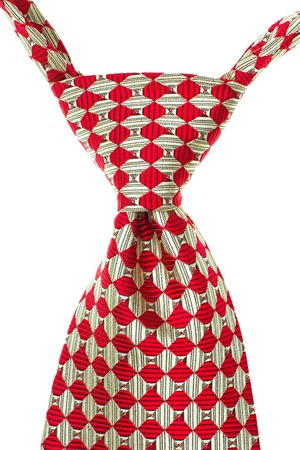s day: Red and White Striped Tie Isolated on White Background.