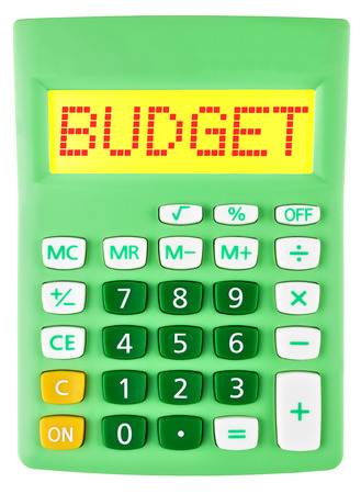 deficits: Calculator with BUDGET on display isolated on white background Stock Photo