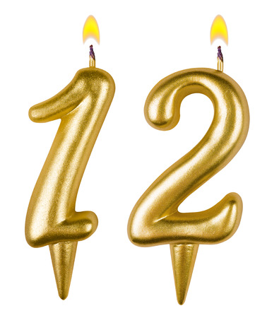 Birthday candles number twelve isolated on white background Stock Photo