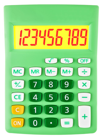 budgetary: Calculator with 123456789 on display on white background