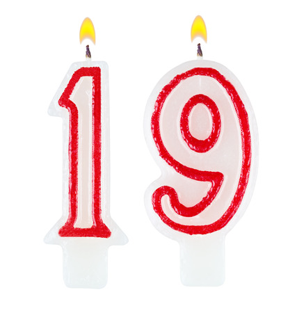 nineteen: Birthday candles number nineteen isolated on white background Stock Photo