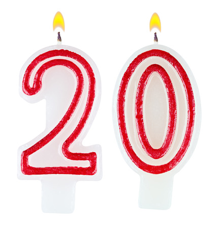 0 1 year: Birthday candles number twenty isolated on white background