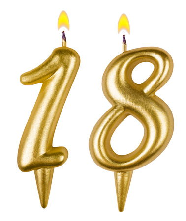 Birthday candles number eighteen isolated on white background photo