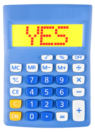 assertion: Calculator with YES on display on white background