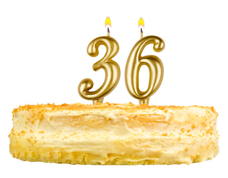 number 36: birthday cake with candles number thirty six isolated on white background Stock Photo