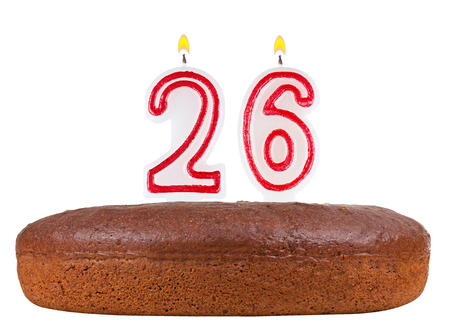 26th: birthday cake with candles number 26 isolated on white background Stock Photo