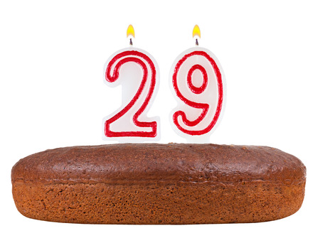 29: birthday cake with candles number 29 isolated on white background Stock Photo