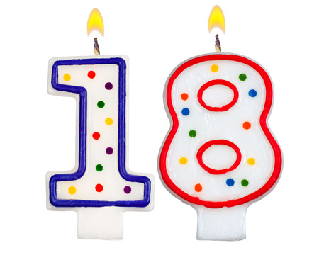 8 years birthday: Birthday candles number eighteen isolated on white background