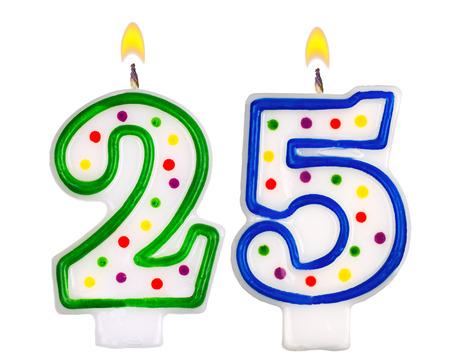 Birthday candles number twenty five isolated on white background Standard-Bild