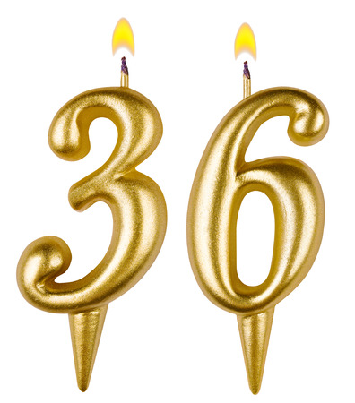 Birthday candles number thirty six isolated on white background photo