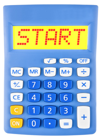 budgetary: Calculator with START on display isolated on white background