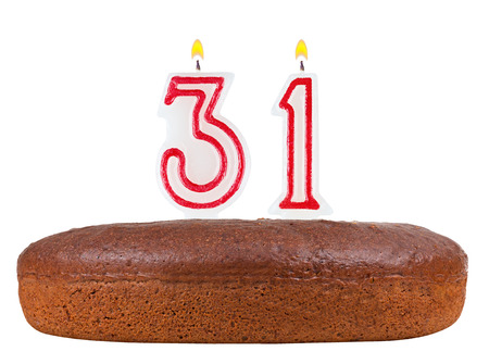 31: birthday cake with candles number 31 isolated on white background Stock Photo