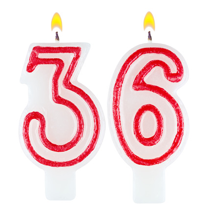 36 6: Birthday candles number thirty six isolated on white background Stock Photo