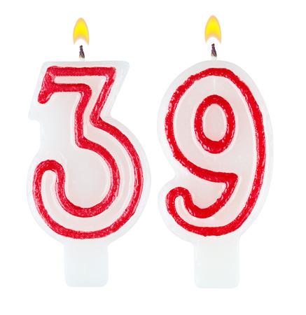 Birthday candles number thirty nine isolated on white background photo