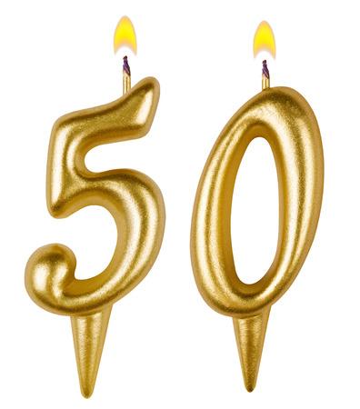 velitas de cumpleaños: Velas en su cumpleaños número cincuenta aislados en fondo blanco Foto de archivo