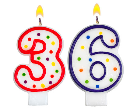 Birthday candles number thirty six isolated on white background Stock Photo