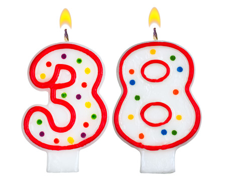 8 years birthday: Birthday candles number thirty eight isolated on white