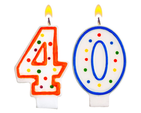 Birthday candles number thirty isolated on white background